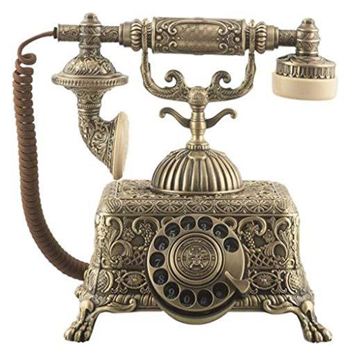 LXYZ Teléfono Retro, teléfono móvil Fijo Antiguo de la antigüedad casera Europea de la línea Fija del Metal del dial rotatorio