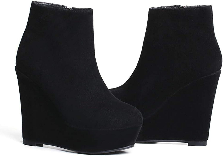 MFairy Women's Wedge Heel Ankle Boots Platform Hidden Booties