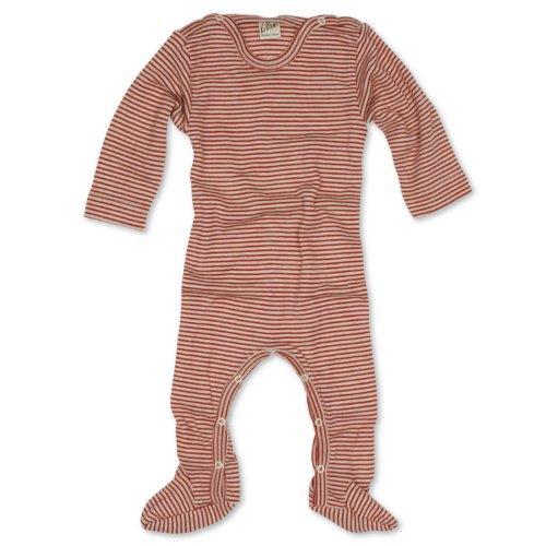 Lilano Schlafanzug - Overall, Größe 50, Farbe Rot-Natur von Wollbody® - 70% Schurwolle kbT, 30% Seide - Vertrieb nur durch Wollbody®