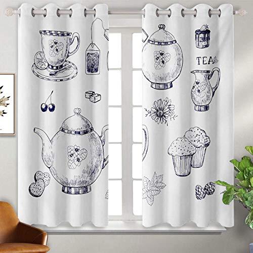 Mozenou - Cortinas opacas térmicas con aislamiento de 52 x 63 pulgadas, color azul y blanco, teteras y tazas dibujadas a mano, muffins y bolsas, estilo clásico inglés, color azul marino y blanco