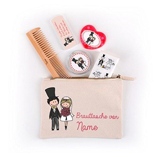 Herz & Heim® Brauttasche zur Hochzeit befüllt mit 5 nützlichen Dingen - mit Namensaufdruck