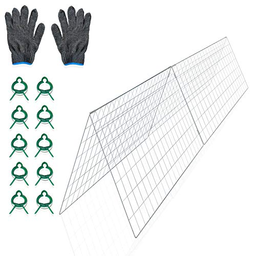 FYNIST Garden Cucumber Trellis - Outdoor Garden Trellis for Climbing Plants Vegetables Flowers with Plant Support Clips and Gardening Gloves - Durable Galvanized Steel - Weather-Resistant
