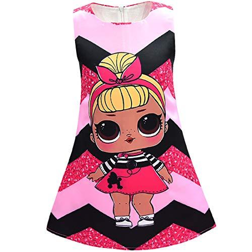 Kinder Mädchen Prinzessin Kleid Geburtstag Party Streifen Schmetterling Print Abend Rock Nachthemd Nachthemden (3, 120 (4-5 Jahre))