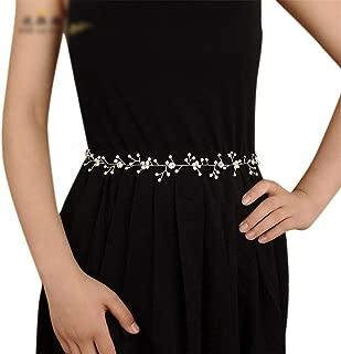 LUKEEXIN Belt Girdle Women's Hand-Woven Rhinestone Pearl Wedding Dress Bride Belt (Color : Champagne)