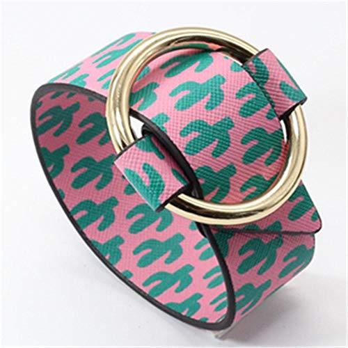 Pulsera Circle Cactus Pink Wristband Summer Beach Jewelry PU Pulseras De Cuero Anchas para Mujeres Brazalete
