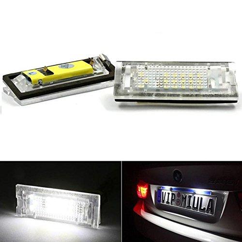 PolarLander 2pcs 6500K 18 LED SMD Plaque d'immatriculation lumières Lampes Ampoules
