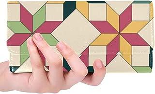 Unique Custom Quilted Design Style Art 3d Retro Women Trifold Wallet Long Purse Credit Card Holder Case Handbag
