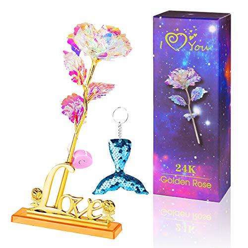 ANBET Flor Brillante Rosa Artificial de Papel de Oro de 24 Quilates co