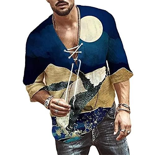 Shirt Hombre Moderna Urbana Tendencia Moda Impresión Holgada Media Manga Hombre Camiseta Verano Profundo Cuello V Lazada Diseño Diario Casual Vacaciones Hombre Tops F-Navy L