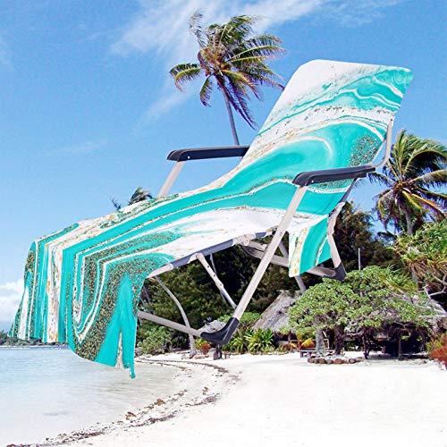 Toalla de Playa Vistoso Mármol Patrón Impresión Portátil Toalla Playa Cubierta Dela Silla de Playa con Bolsillos para Tomar El Sol en Vacaciones en La Playa (Color 5, 75 × 210 cm)