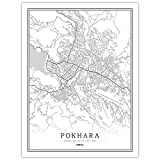 Bilder Auf Leinwand,Pokhara Map Poster Print, Nepal City