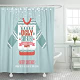 LongTrade Cortina de baño Shower Curtain Shower Curtain Winter Christmas on Ugly Sweater Holiday Party Retro Festive Waterproof Polyester Fabric Set with Hooks 60' W x 72' L