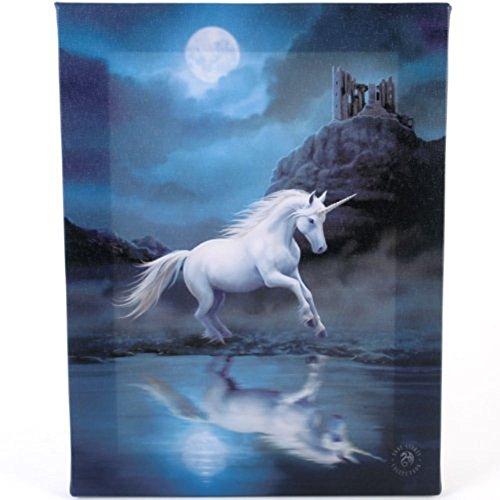 Fantastisches Anne Stokes Design - Moonlight Unicorn - Ein weißes Einhorn unter dem Mond - Leinwand Bild auf Bild-Wand-Plakette / Wand Kunst