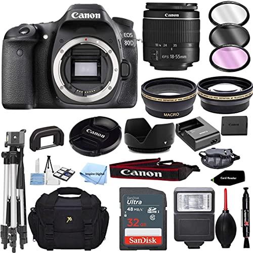 EOS 80D Digital SLR Camera Body with 18-55mm f 3.5-5.6 is STM Lens 3 Lens DSLR Kit Bundled with Complete Accessory Bundle + 32GB + Flash + Case Bag & More - International Model