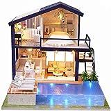 WDLY DIY Mini De Madera Casa De Muñecas, Tiempo Apartamento Alquiler De Cabañas Hechas A Mano Kits Modelo De Arquitectura para Chicas para Niños Adultos Playset Juguetes (Banda De Guardapolvos)