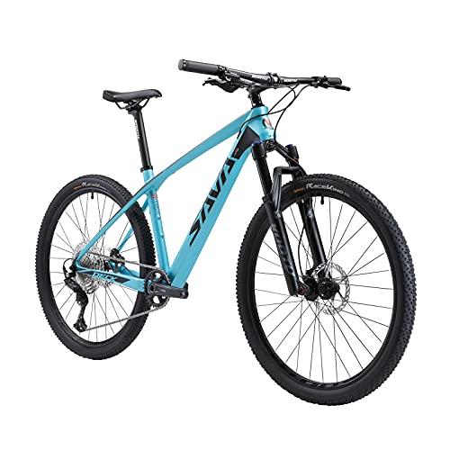 WGG Mountain Bike 29 MTB Bike Mountain Bike Bicicletta in Fibra di Carbonio con 30 velocità per Pendolari per Esercizio con Ruota di Bicicletta per Giovani (Color : Nero, Taglia : 15inch)
