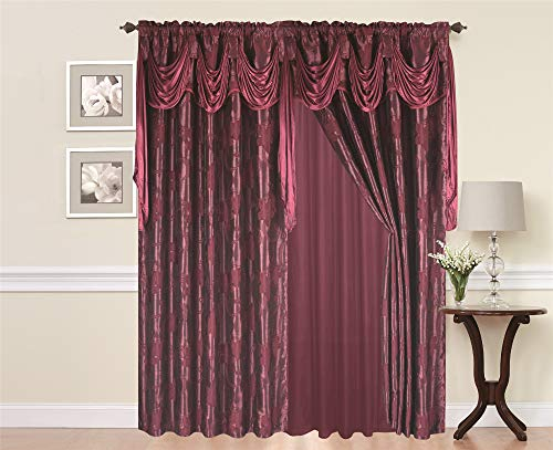 Jacquard Floral Pattern Curtain Set 2 Panel with Attached Fancy Valance and Sheer Backing with 2 Tassel Tie Back - Window Curtains for Bedroom, Living Room or Dinning Room (Burgundy)
