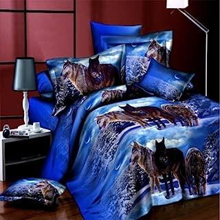 LightInTheBox Queen Size 3D Wolf Bedding Sets Blue Unique Cool Wolves on Snow Print 4-Piece Polyester Duvet Cover Sets, 4 PCS Blue Bedding Quilt Cover Set (Queen)