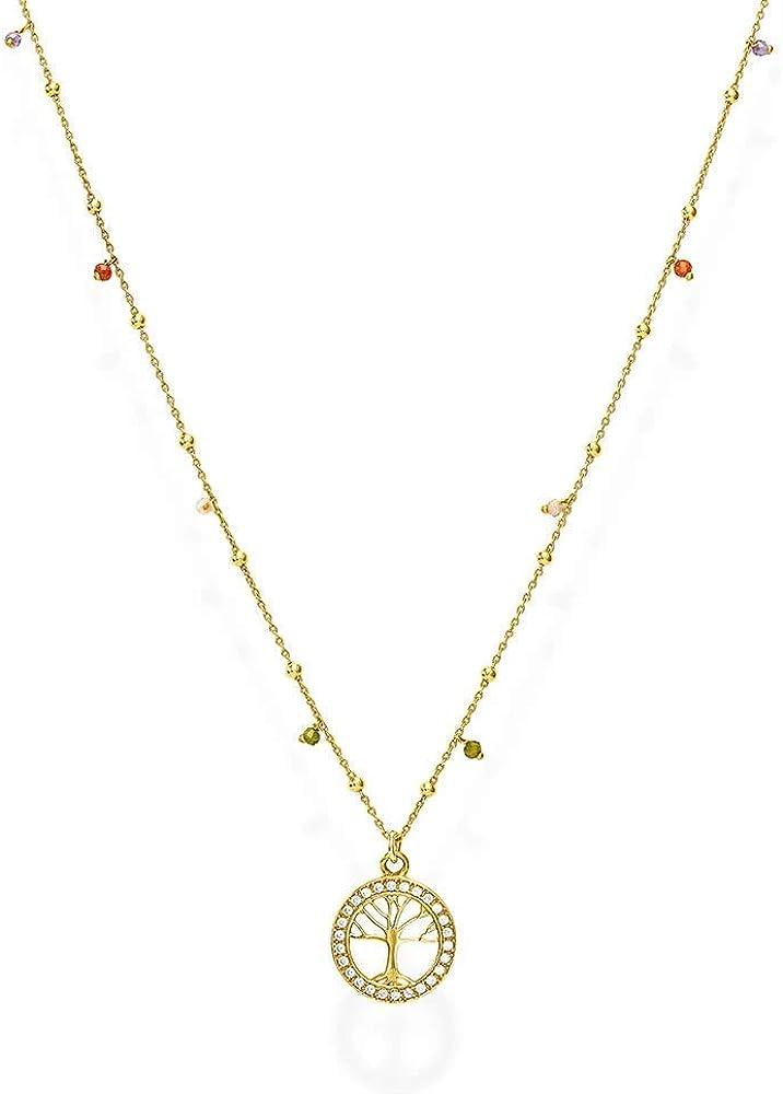 Amen ,collana per donna,in argento 925 dorato, e cristalli multicolor CLALGM1