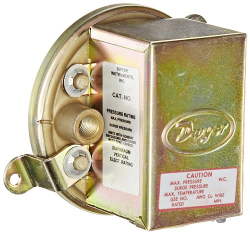 Dwyer Series 1900 Compact Low Differential Pressure Switch with Conduit, Range 0.07-0.15'WC