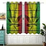 Yushg Textura de Madera de la Bandera de Rasta con Hoja de Marihuana Silhou para el oscurecimiento de la habitación del Dormitorio Cortina de Ventana Opaca 2 Paneles Cortinas Opacas desl
