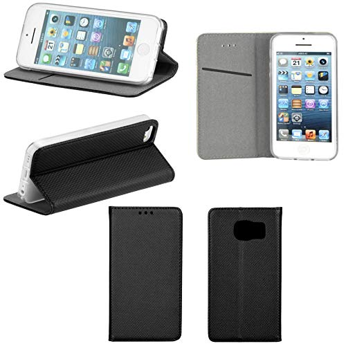 Handyschale24 Alcatel One Touch Pixi 4 4.0 4034D Smart Book Flip Case Schwarz mit Standfunktion Kartenfächern & Magnetverschluss Handy Tasche Wallet Schutz Hülle Bumper Cover Handyhülle Etui