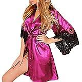 IAMZHL Mujeres Ropa de Dormir Sexy Seda KimonoLencería Cinturón Albornoz Ropa de Dormir RopaInterior para Mujer Pijamas de Mujer-Hot Pink-1-M