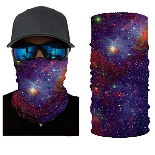 PAWANG Turbante Multifuncional 3D Hermoso Cielo Estrellado Colorido decoración de la Cara de Halloween 50x25cm