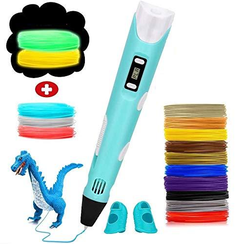 Shallwe 3D Penna Stampa, con Schermo LCD e Controllo della Temperatura, con 15 Filamenti 1,75mm PLA Supplementari e Colori Diversi, 3D Penna Compatibile con PLA/ABS, Regalo per Bambini, Adulti