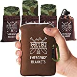 World's Toughest Emergency Blankets | 4 Pack Extra Large Thermal Mylar Foil Space Blanket for Hiking, Marathon Running, First Aid Kits, & Outdoor Survival Gear | Camo