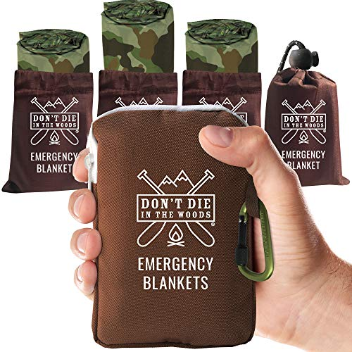 World's Toughest Emergency Blankets   4 Pack Extra Large Thermal Mylar Foil Space Blanket for Hiking, Marathon Running, First Aid Kits, & Outdoor Survival Gear   Camo
