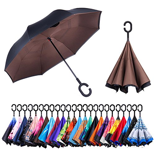 Newsight Reverse Umbrella, Double Layer Inverted Umbrella Upside Down, Self Stand, C Shape Handle, Inverse Inside Out Folding for Car, Windproof, Waterproof, Sun Protective (Brown)