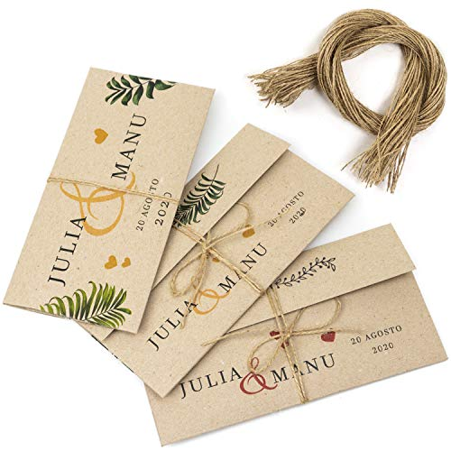 50 Sobres Invitación Boda Personalizados Originales + 50 hilos yute, impresos a medida con nombres, Papel reciclado kraft - 11x17,5 cm, para tarjetas, felicitaciones e invitación