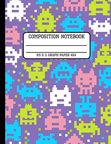 Composition Notebook Graph Paper 4x4: Video Game Pixel Trendy Computer Back to School Quad Writing Book for Students and Teachers in 8.5 x 11 Inches