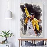 Impresión en lienzo 60x80cm sin marco Freddie Mercury 15 Leyenda de la música clásica Celebrity Post...