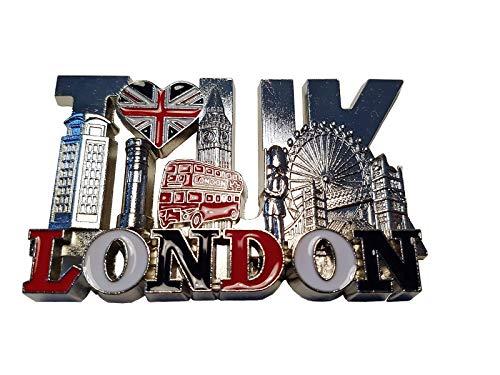 London Metal Koelkast Magneet - Zilver Kleur/Woord/Ik hou van UK/Union Jack Hart/Telefoon/Post Box/Big Ben/Double Decker Bus/Royal Guard/Tower Bridge/Eye/Engeland Britse Souvenir