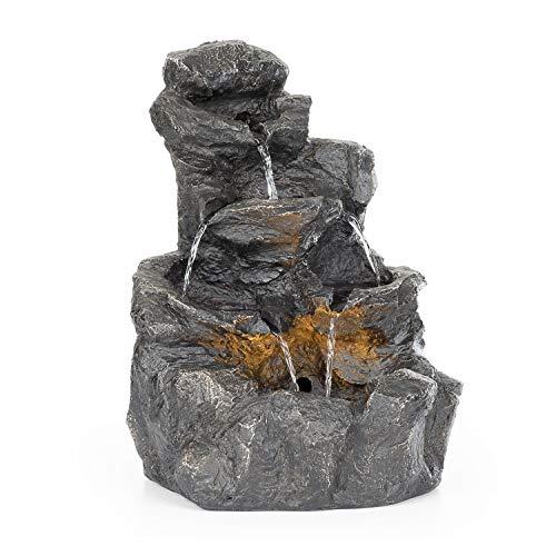blumfeldt Rocky Waters - Fontaine de Jardin, Eclairage LED, Intérieur et extérieur, 2,5 W, Polyrésine, Résistant au Gel et aux Rayons UVA, Circuit fermé, 10 m de câble, Anthracite