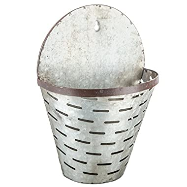 Galvanized Rustic Metal Hanging Olive Bucket Floral Basket