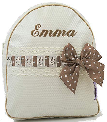 Babyrucksack Kindergartenrucksack Kindergartentasche Backpack mit Namen personalisiert. Emma. Verfügbar in Mehreren Farben (Beige)