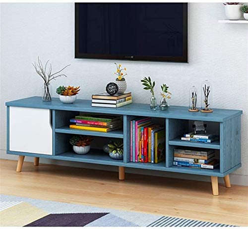 CSD Televisión Soporte Moderno TV Console Media Soporte de Entretenimiento Centro de Entretenimiento TV Consola de Almacenamiento Gabinete de TV Gratis. (Color : Blue+White, Size : 120x30x39cm)