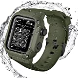 Compatible for Apple Watch Series 3 2 42mm Case with Band, Life Waterproof Watch Cover with Strap Loop for iWatch 42mm Series 3 2 Sports, Shockproof, Sweatproof Silicone Band (Green, 42mm)