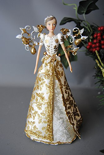 Feuille d'or Décoration pour sapin de Noël – Ange Fée – Or et crème à paillettes