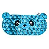 Estuche para lápices de silicona, bolsa de silicona para niños, bolsa antiestrés de burbujas de pop, juguete sensorial, bolsa de lápices portátil, organizador de papelería para niños (azul, OneSize)