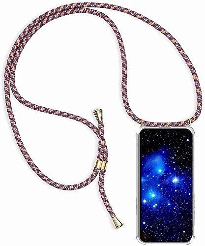 Bigcousin Funda con Cuerda Compatible con Huawei Honor 10 Lite/P Smart 2019,Transparente de TPU con Ajustable Collar Cadena Cordón,Albaricoque Rojo Gris