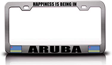 Custom Brother - Happiness is Being in Aruba Flag Steel Metal License Plate Frame Ch