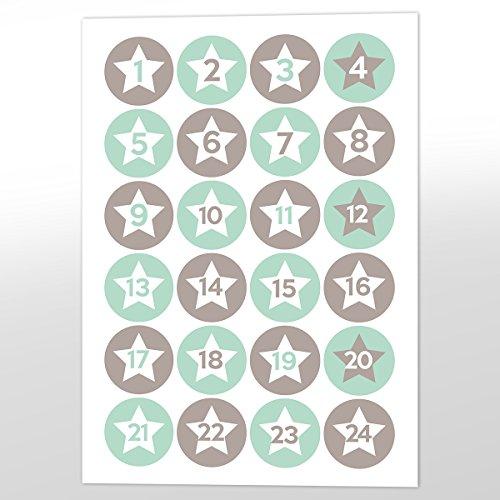 in due Advents-Aufkleber 'Nico' Mint & grau Sterne - Sticker für den Adventskalender