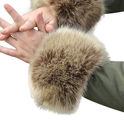 Surfiiy autunno inverno caldo pelliccia Polsino Donna manicotti Guanti Pelliccia di coniglio imitazione Manica Polso Braccialetto in Pelliccia (Cachi)