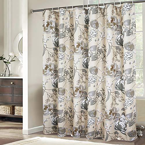 Xxuan Home Elegant Fabric Shower Curtain 72x72, Floral Shower Curtain Waterproof European Style Decorative Bathroom Curtain with Hooks