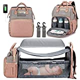 3 in 1 Diaper Bag Backpack with Changing Station, Waterproof Baby Bag with Auto Foldable Crib, Travel Bassinet with USB Charging Port and Shade Cloth (Grey+Pink)
