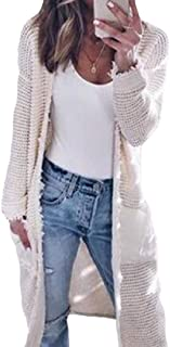 Womens Long Sleeves Soft Chunky Knit Sweater Open Front Cardigan Outwear with Pockets